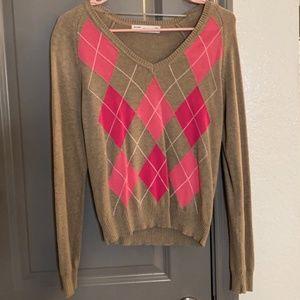 Pink Brown Zara Argyle Sweater. Size Medium.
